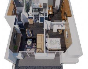 Apartament 3 camere, 61 mp, decomandat, terasa 8 mp, semifinisat, zona Apahida