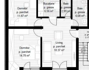 Apartament 3 camere, 61 mp, decomandat, terasa 8 mp, Apahida
