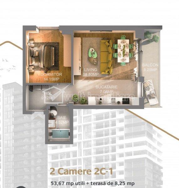 Apartament 2 camere, ansamblu de lux