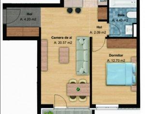Apartament 2 camere, bloc nou, 58 mp, et. intermediar, cartier Buna Ziua