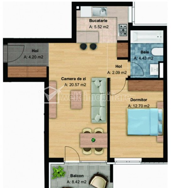 Apartament 2 camere, bloc nou, 50 mp, et. intermediar, cartier Buna Ziua