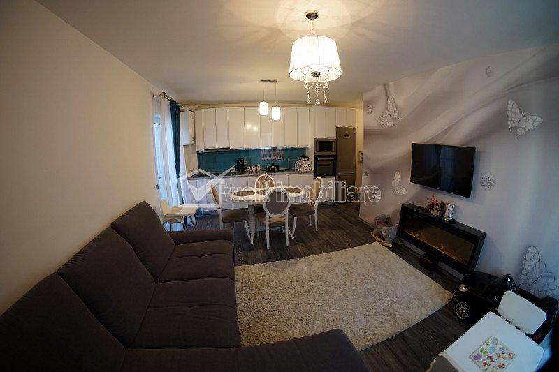 Apartament de vanzare, 3 camere, 60 mp+20 mp terase, mobilat si utilat, Europa