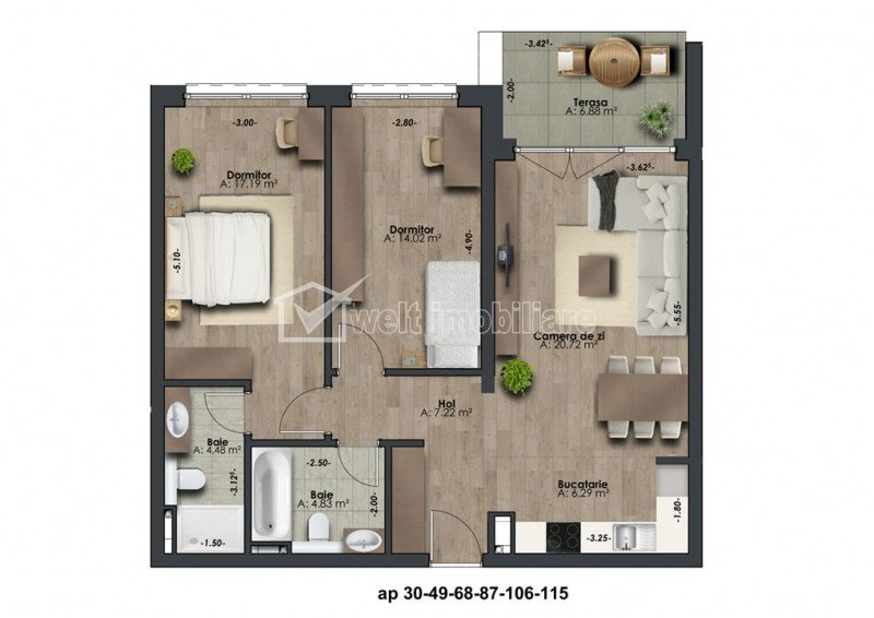 Apartamente de 3 camere situate in imobil nou exclusivist, zona The Office