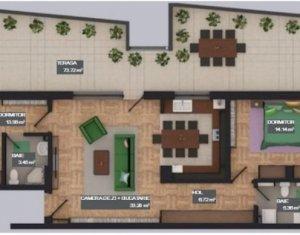 Apartament 3 camere, cu terasa, zona bancii Reiffaisen, Floresti