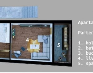Apartament in vila, 4 camere, parter + 1 etaj, imobil nou, Dambul Rotund