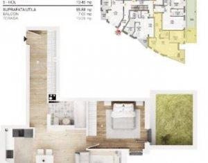 Apartament cu 2 camere, 56 mp bloc nou, terasa, parcare subterana