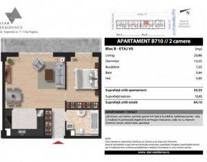 Vanzare apartament 2 camere, 53 mp, finisat, balcon 10 mp, zona Soporului