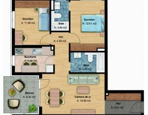 Apartament 3 camere, bloc nou, 68 mp, et. intermediar, cartier Buna Ziua