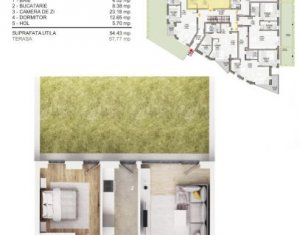 Apartament cu 2 camere, 55 mp bloc nou, gradina 98 mp, parcare subterana