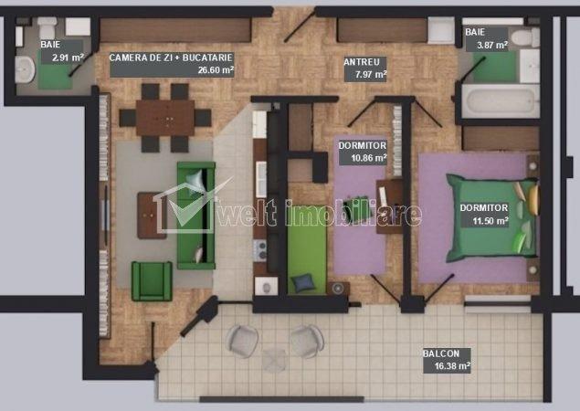 Vanzare apartament 3 camere, 2 bai, situat in Floresti, zona Tautiului