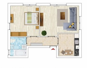 Apartament cu 2 camere, Borhanci, parcare inclusa, 56 mp, negociabil