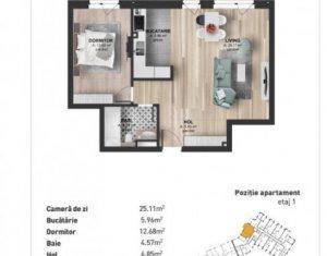 Apartament 2 camere, semifinisat, etaj 1/4, balcon, imobil nou, cartier Marasti