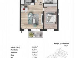 Vanzare apartament 2 camere 52 mp, etaj 1, zona Kaufland Marasti