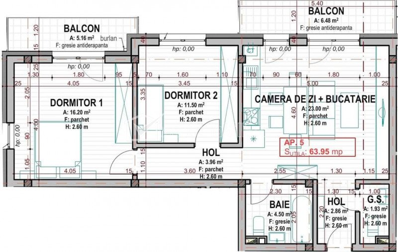 Apartament 3 camere, 2 bai, etajul 1/2, zona centrala