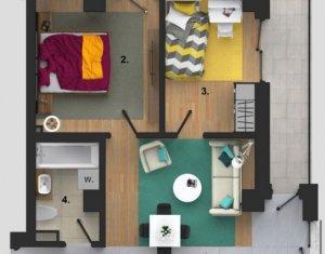 Apart. cu 3 camere, etaj interm., balcon, finisat, parcare subterana, Buna Ziua