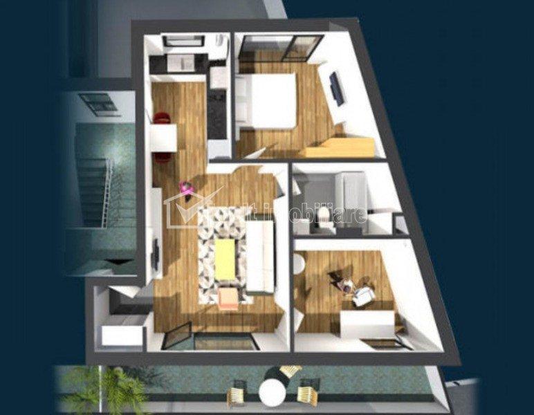Apartament de vanzare, 3 camere, 55 mp, Centru