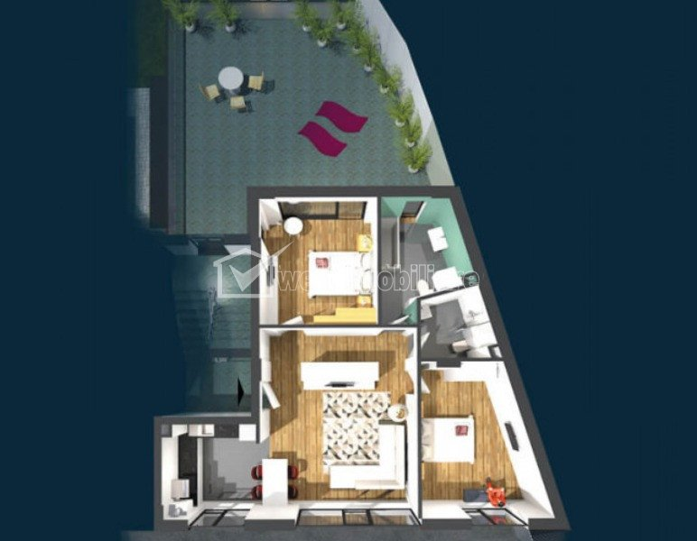 Apartament de vanzare, 3 camere, 75 mp, Centru