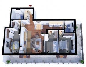 Apartament cu 4 camere, suprafata de 94mp ,cu tersa de 43mp, CF