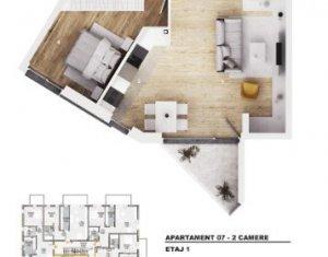 Apartament cu 2 camere, 54 mp bloc nou, balcon, orientare SUD, parcare subterana