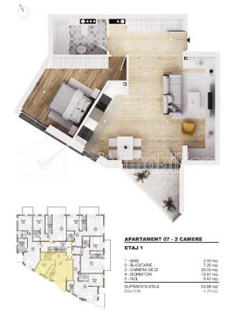 Apartament cu 2 camere, 52 mp bloc nou, balcon, orientare SUD, parcare subterana