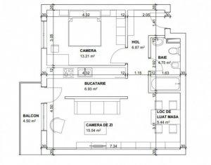 Apartament luminos si panorama 2 camere, 53 mp, balcon semifinisat, zona Clujana