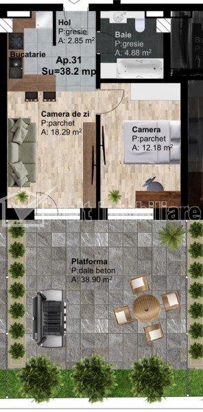 Apartament 2 camere 38 mp + terasa 39 mp, Bloc Nou, Zona IRA