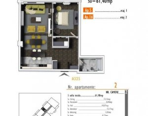 OFERTA de TOP! Apartament de 2 camere, 62 mp, imobil nou in zona Marasti