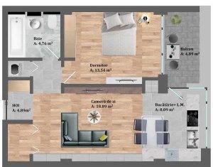 Apartament 2 camere, decomandat, Baciu, semifinisat, 54mp