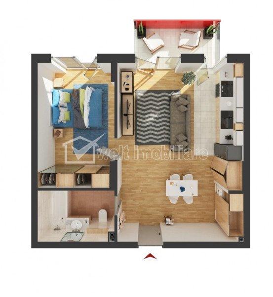 Bloc  nou, CF, apartament de 2 camere, Auchan