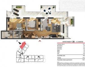 Apartament cu 3 camere de 76mp + terasa de 61mp, bloc nou, CF
