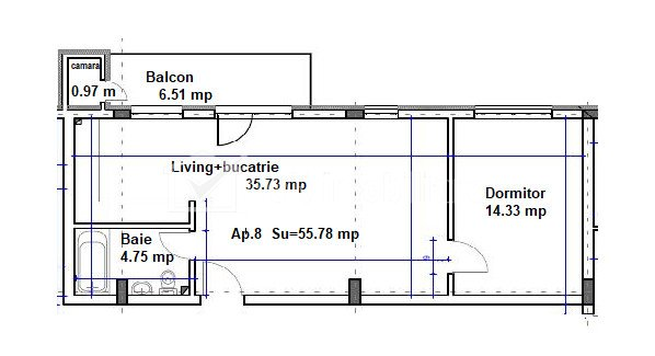 Apartament 2 camere, 55.78 mp, etaj 1, camara, zona centrala