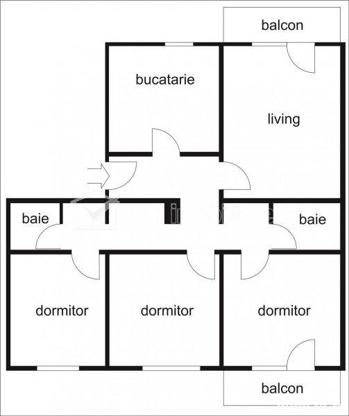 Apartament 4 camere, 2 bai, 2 balcoane, decomandat, Manastur, aleea Retezat