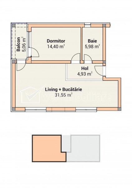 Apartment 2 rooms for sale in Cluj-napoca, zone Apahida