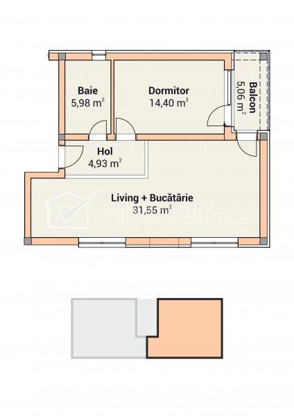 Apartament 2 camere in vila cu 6 apartamente, Apahida, zona Primarie