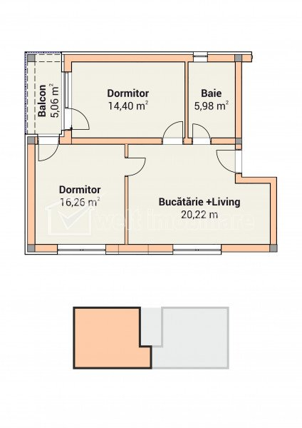Apartament 3 camere in vila cu 6 apartamente, Apahida