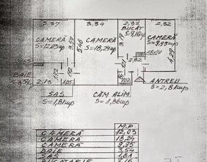 Apartament 3 camere, 56,4 mp, etaj 2 din 4, in Centru