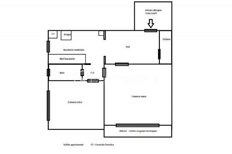 Apartament 2 camere decomandat, etaj intermediar, zona Piata Flora