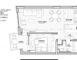 Centru - apartament 2 camere, 57 mp + 7 mp balcon, parcare