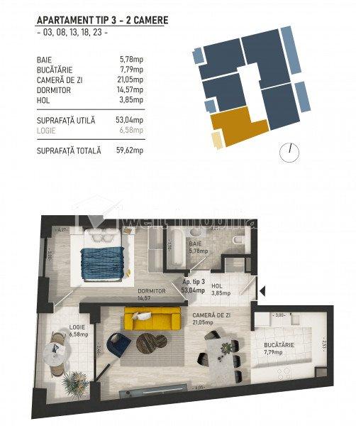 Apartamente de 2 camere, imobil nou in centru, zona Pta Mihai Viteazu