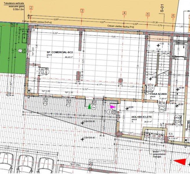 Spatiu birou sau servicii 86mp, H=5m, parcare inclusa, pod Traian