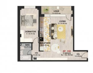 Apartament 2 camere, 62 mp, logie 6 mp, etaj 2, parcare subterana, Marasti