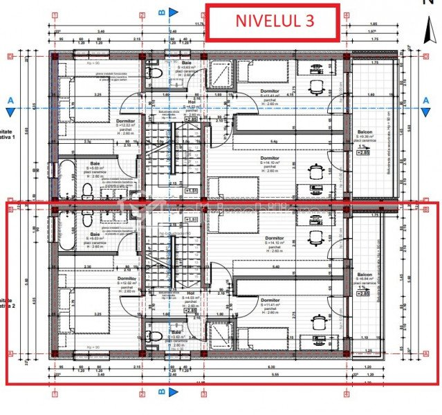 Duplex, 2 terase panoramice 32+20 mp, curte, 3 dormitoare