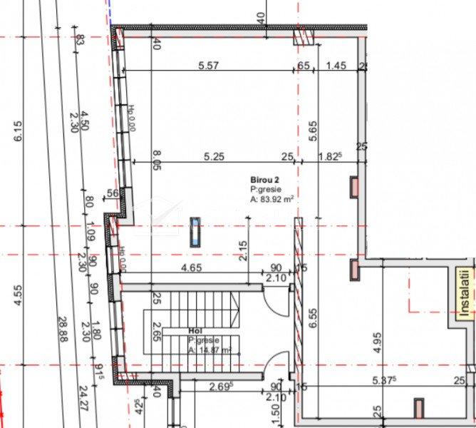 Vanzare spatiu comercial, Centru, bloc nou, mezanin, geamuri catre strada, 84 mp
