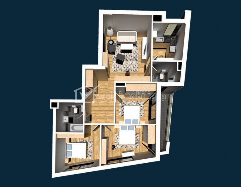 CENTRU - Vanzare apartament 3 camere, 2 bai, bloc nou, zona strazii Clinicilor