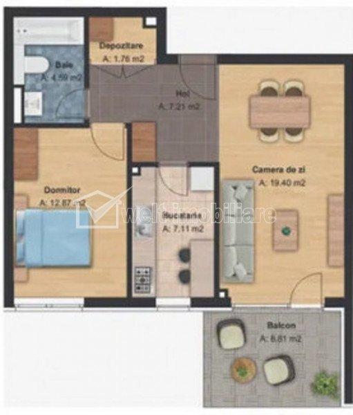 Apartament 2 camere si balcon in imobil nou, 62 mp, Finisaje de top