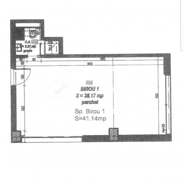 Birou 41mp, cu preluare chiriasi, Plopilor, zona parcul Rozelor