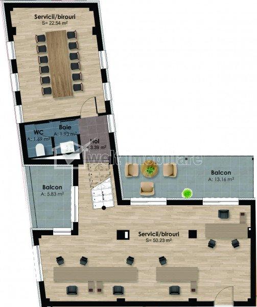 Birou 2 incaperi 80mp, terasa, garaj subteran inclus, piata Garii