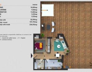 Apartament 2 camere, 53 mp, terasa 181 mp, garaj, bloc nou, Buna Ziua