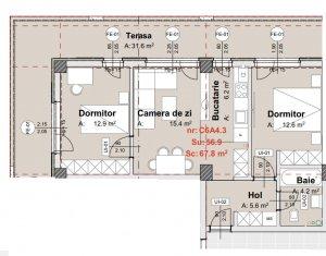 Apartament 3 camere, 57 mp, terasa 32 mp, parcare subterana, zona Vivo