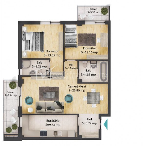 Apartment 3 rooms for sale in Baciu